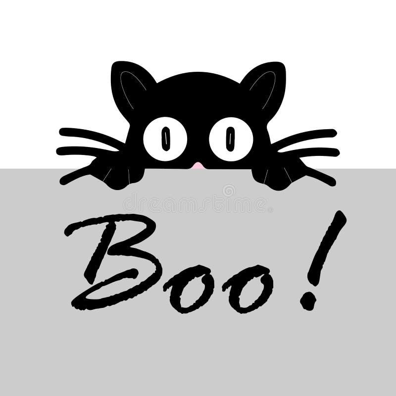 Czarny kot na białym tle Symbol pojedynczego znaku wektorowego Ilustracja wektora ślicznego Horror halloween ilustracji