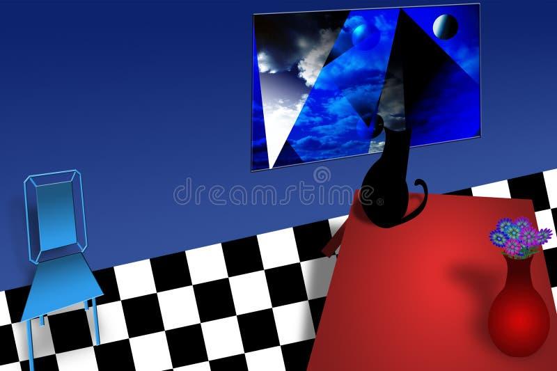 Czarny kot na czerwień stole ilustracja wektor