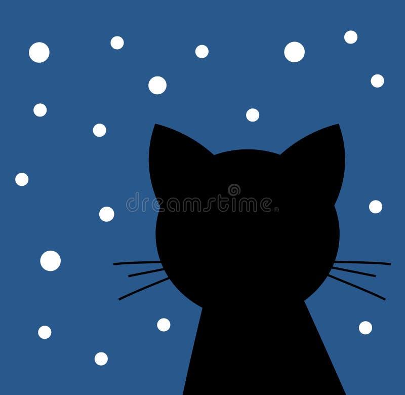 Czarny kot patrzeje śnieg ilustracji