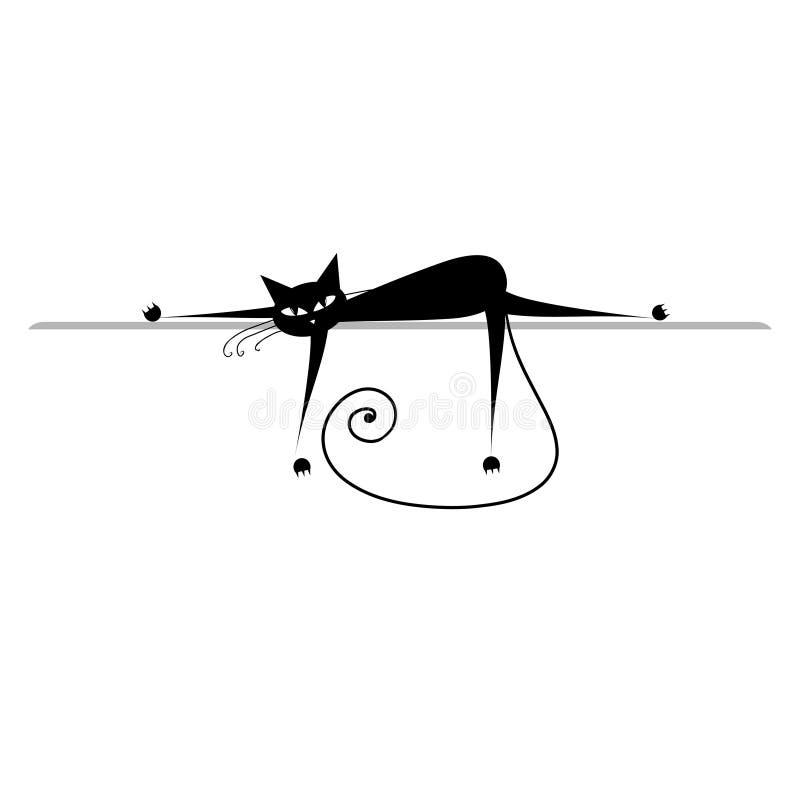 czarny kot relaksuje sylwetkę ilustracji