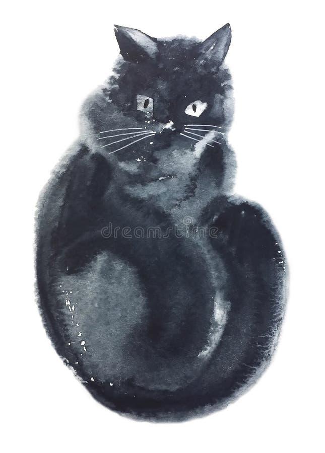 Czarny kot siedzi obraca lewica royalty ilustracja