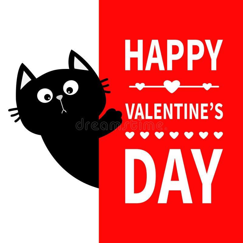 Czarny kot trzyma dużego signboard Ślicznej kreskówki figlarki śmieszna kiciunia chuje za papierem Szczęśliwa walentynka dnia kal ilustracja wektor