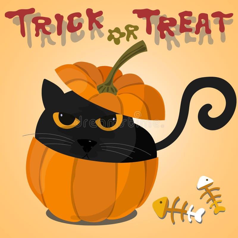 Czarny kot w Halloweenowej bani ilustracji