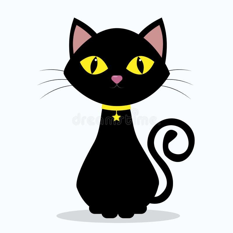 Czarny kot z kolorem żółtym ono przygląda się, na szyi medalion w formie gwiazdy na żółtym faborku, odizolowywającej na bielu ilustracji