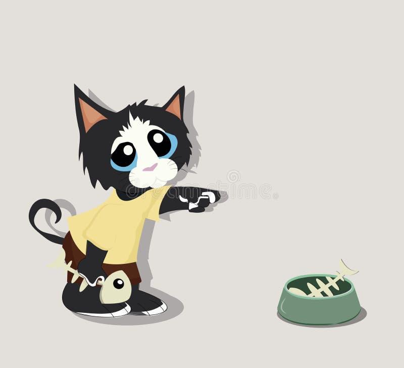 Czarny kot z Rybią kością royalty ilustracja
