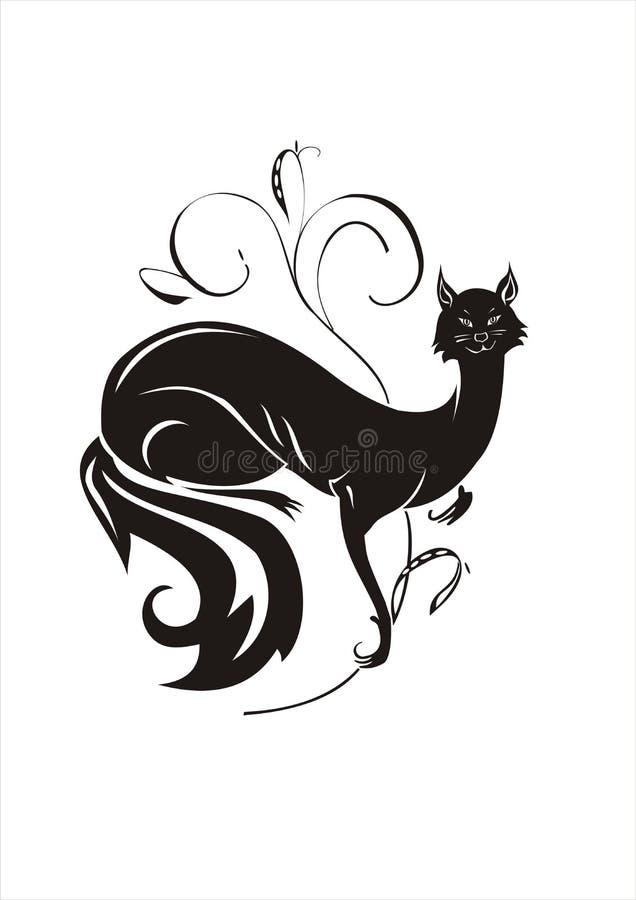 czarny kota bawić się ilustracji
