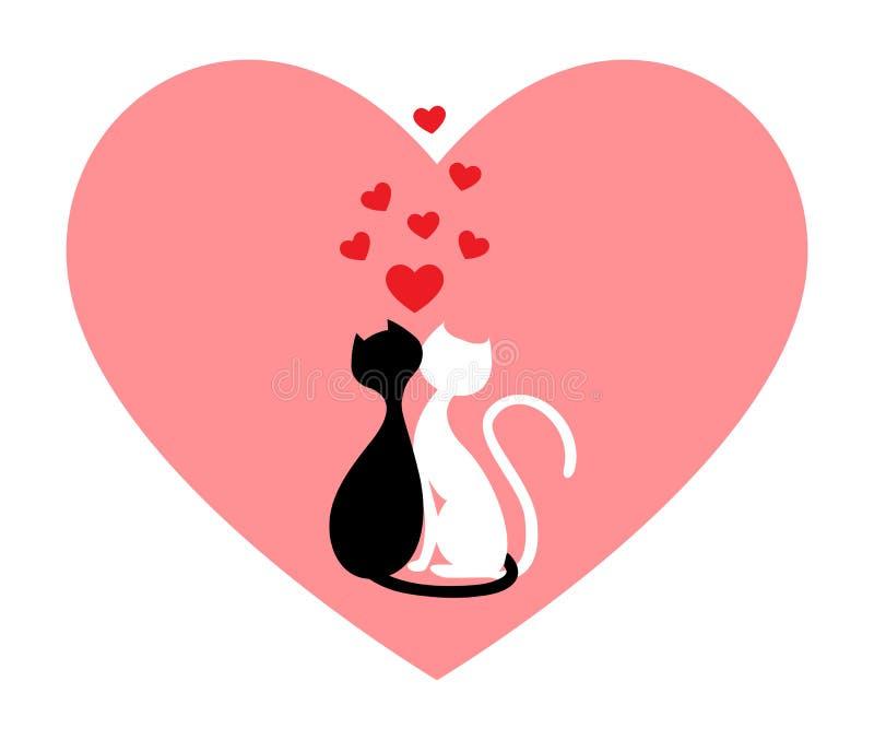 czarny kota biel ilustracja wektor