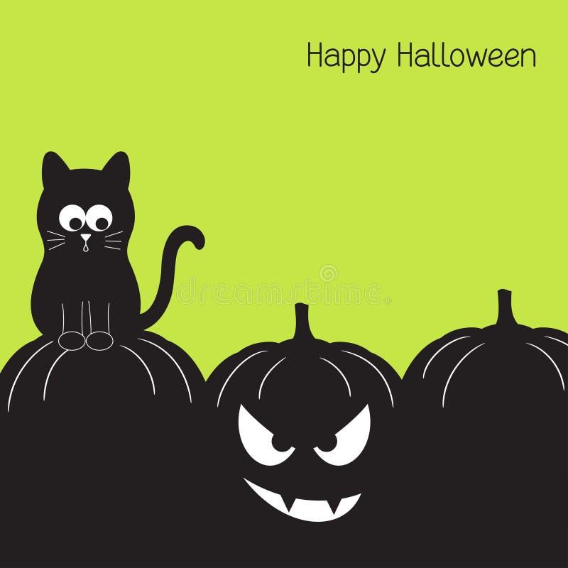 czarny kota Halloween bania ilustracji