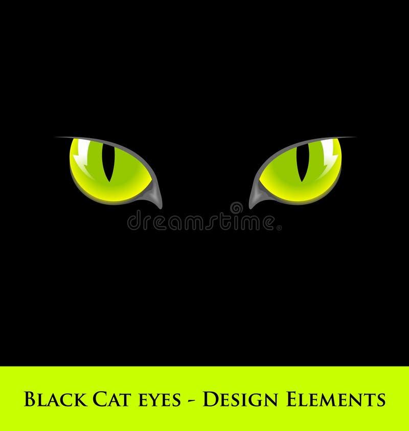 czarny kota oczy royalty ilustracja