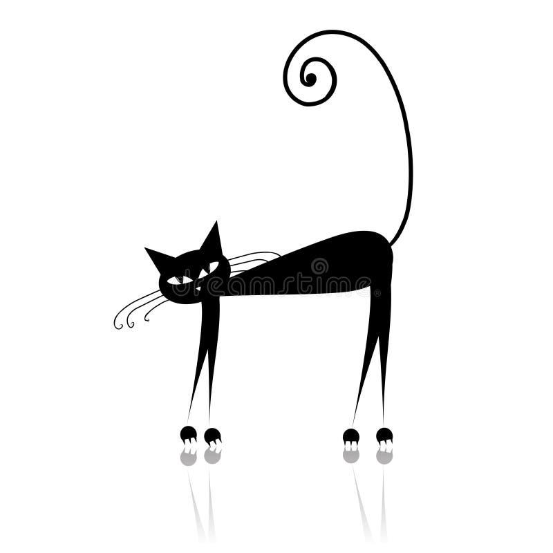 czarny kota projekta sylwetka twój royalty ilustracja