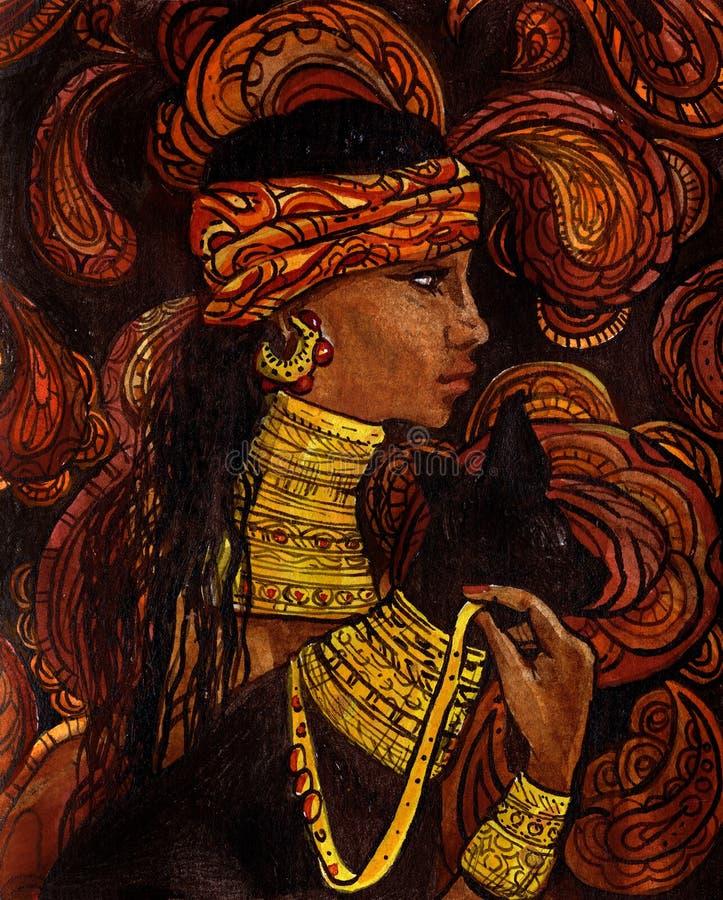 czarny kota rysujący dziewczyny ręki mulata portret obraz royalty free