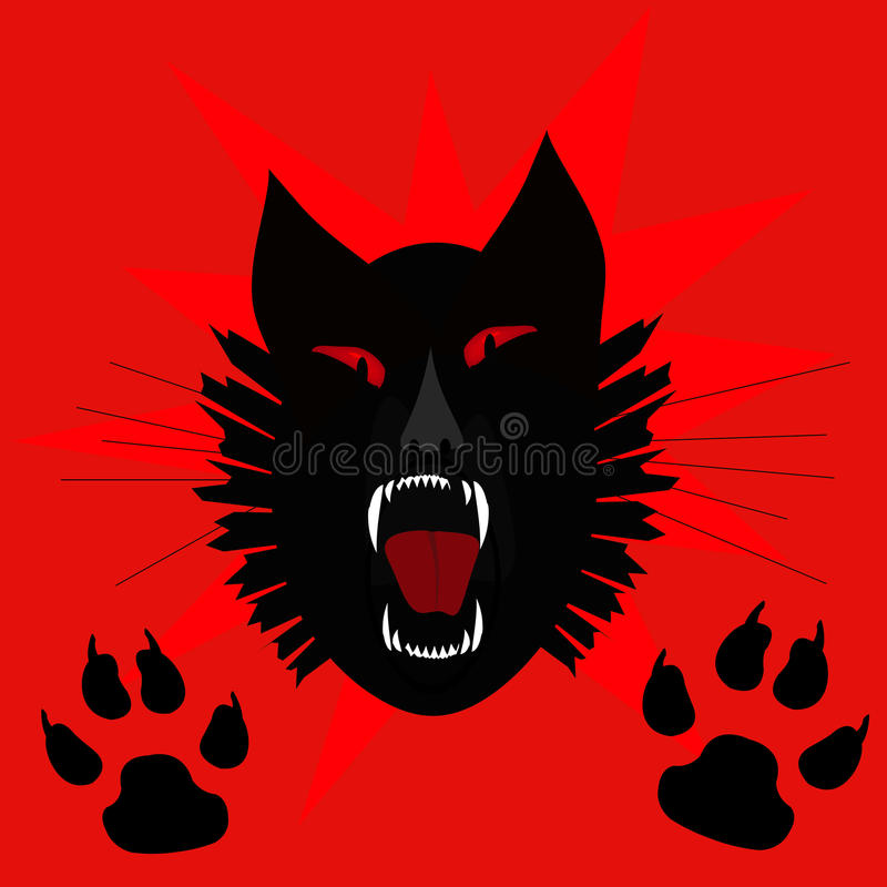 czarny kota wrzask royalty ilustracja