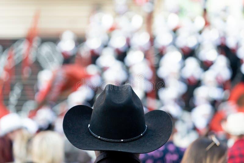 Czarny kowbojski kapelusz w ostrości przy Calgary paniką obrazy stock