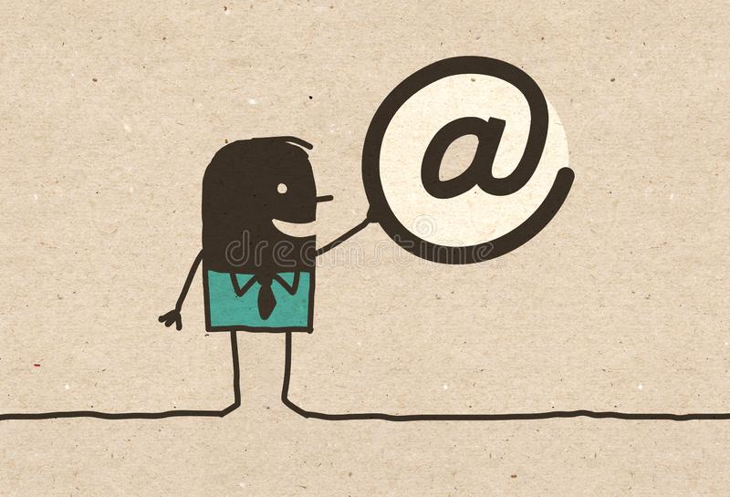 Czarny kreskówka mężczyzna z Internetowym symbolem ilustracji