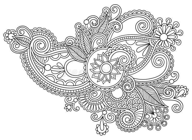 Czarny kreskowej sztuki kwiatu ozdobny projekt, ukraiński ilustracji