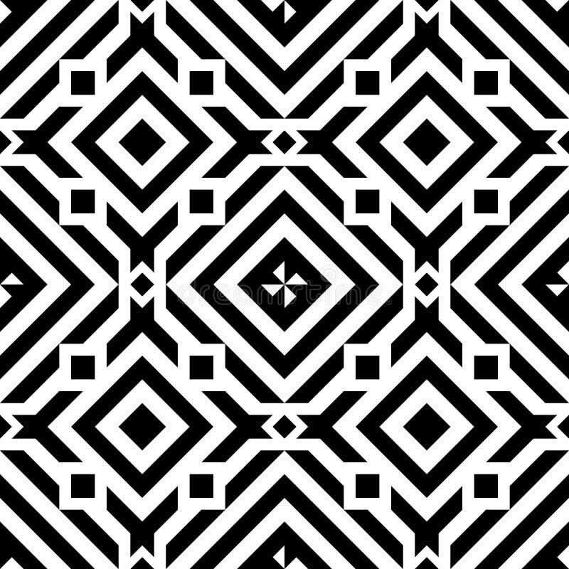 Czarny kreskowy geometryczny diamentowy abstrakcjonistyczny bezszwowy deseniowy wektorowy tło ilustracji