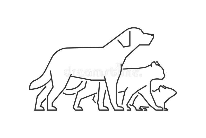 Czarny kreskowy loga zwierzęcia domowego Ñ  linic Wektorowi liniowi zwierzęta domowe na białym backg ilustracji