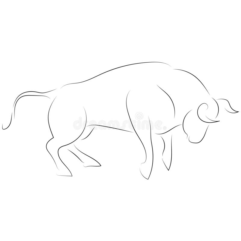 Czarny kreskowy napadanie byk na białym tle Ręki rysunkowy vect royalty ilustracja