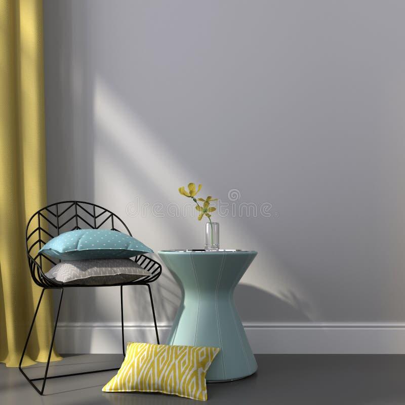 Czarny krzesło blisko błękitnego stołu zdjęcia stock
