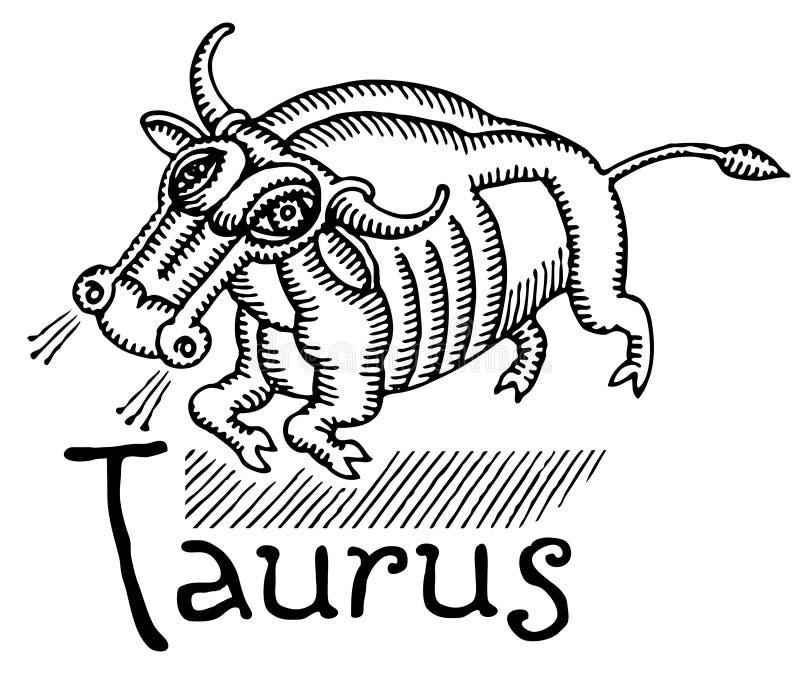 czarny kubisty rysunkowy taurus biel royalty ilustracja