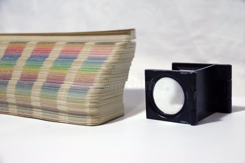 Czarny kwadrat Powiększa - szkło i tęcza Pobieramy próbki kolor palety katalog zdjęcia royalty free