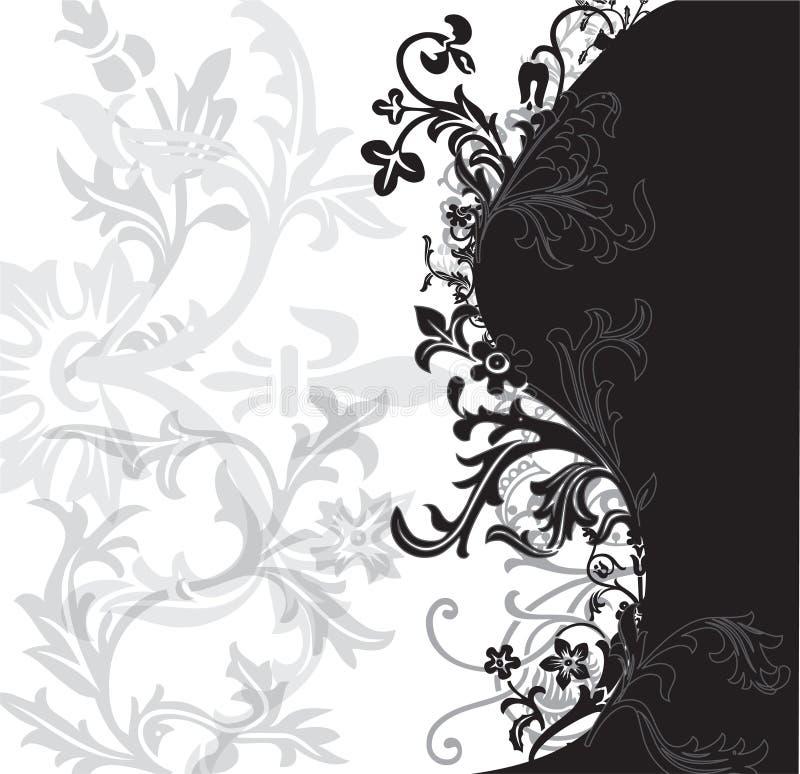 czarny kwiaciasty white gadka ilustracji