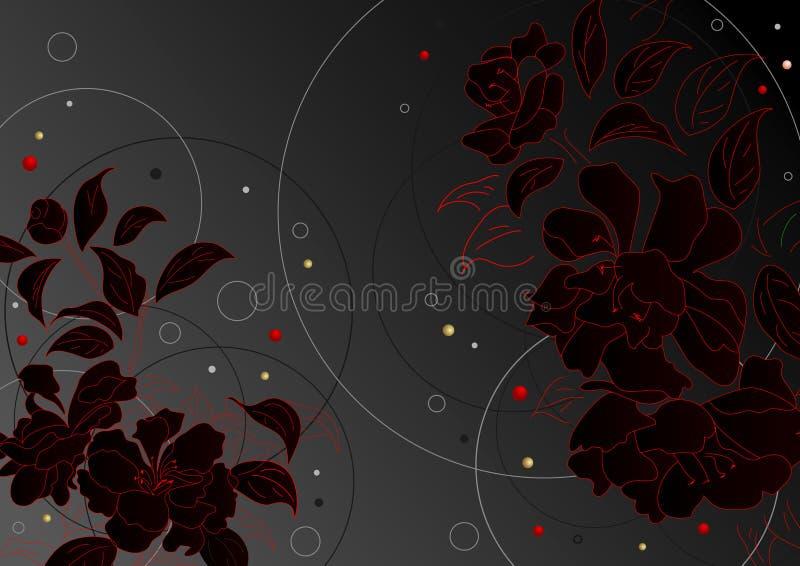 czarny kwiaty royalty ilustracja