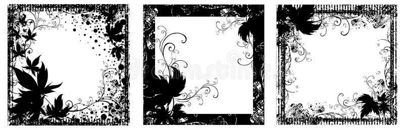 czarny kwieciste ramy ustawiający wektorowy rocznik ilustracja wektor