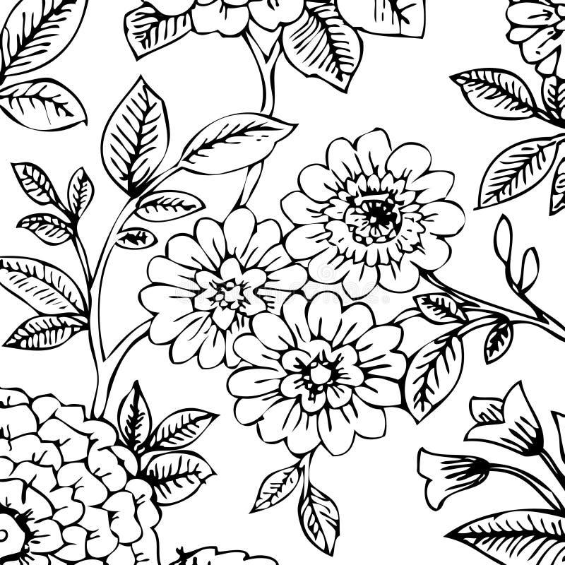 czarny kwiecistej white tapety ilustracji