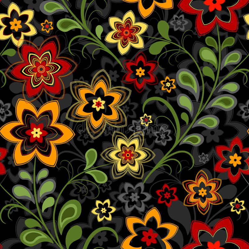 czarny kwiecisty deseniowy bezszwowy royalty ilustracja