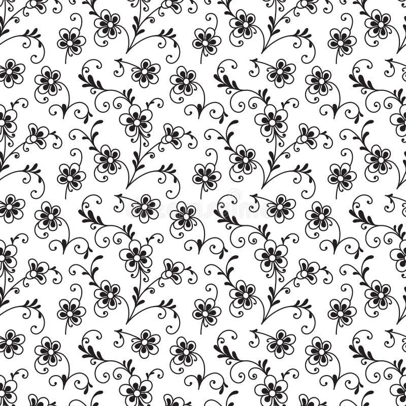czarny kwiecisty deseniowy bezszwowy biel ilustracji