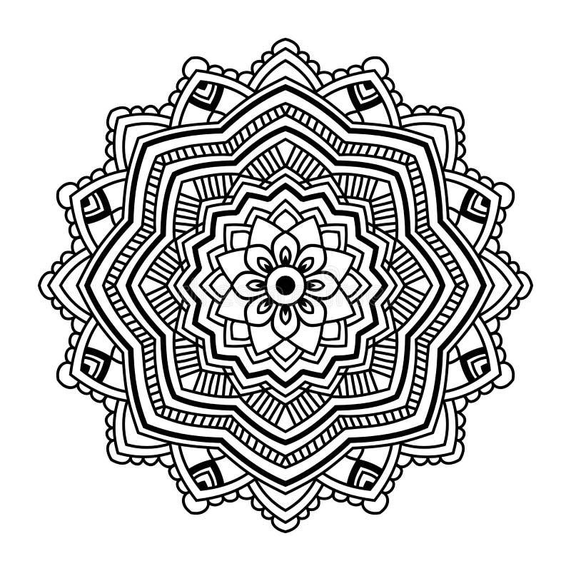 Czarny Kwiecisty mandala ilustracji