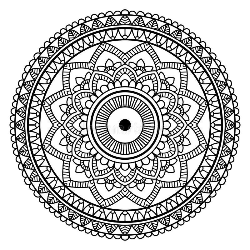 Czarny Kwiecisty mandala royalty ilustracja