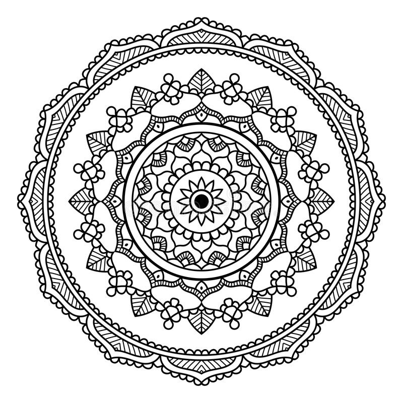 Czarny Kwiecisty mandala ilustracja wektor