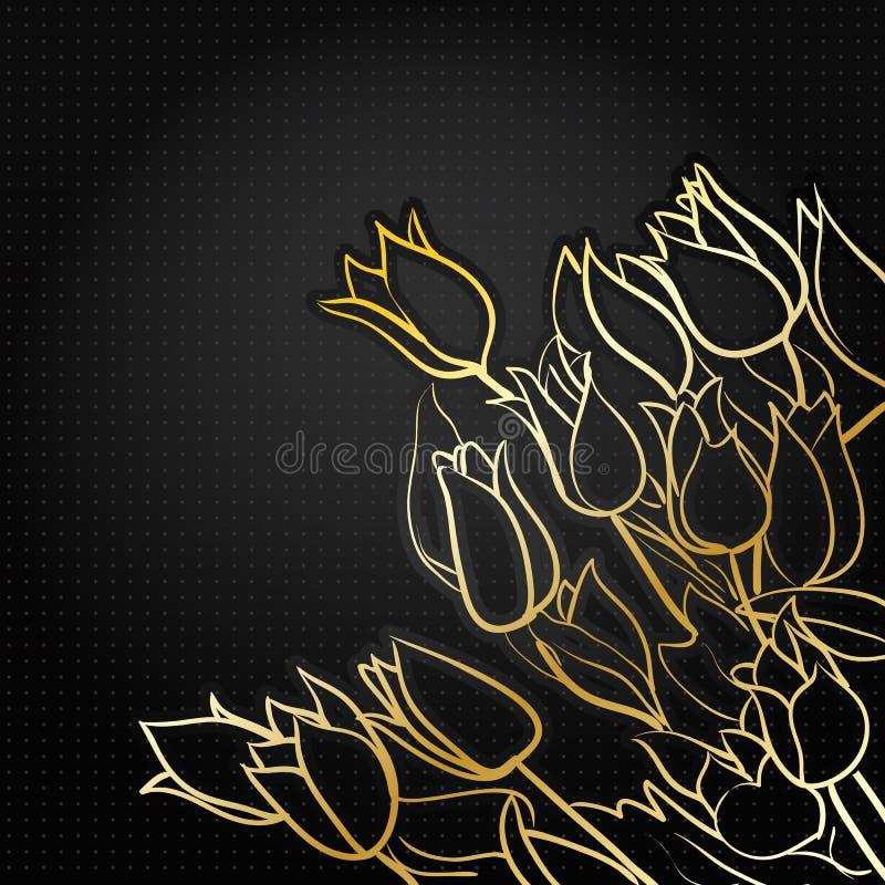 Download Czarny kwiecisty tło ilustracja wektor. Ilustracja złożonej z dzień - 28969324