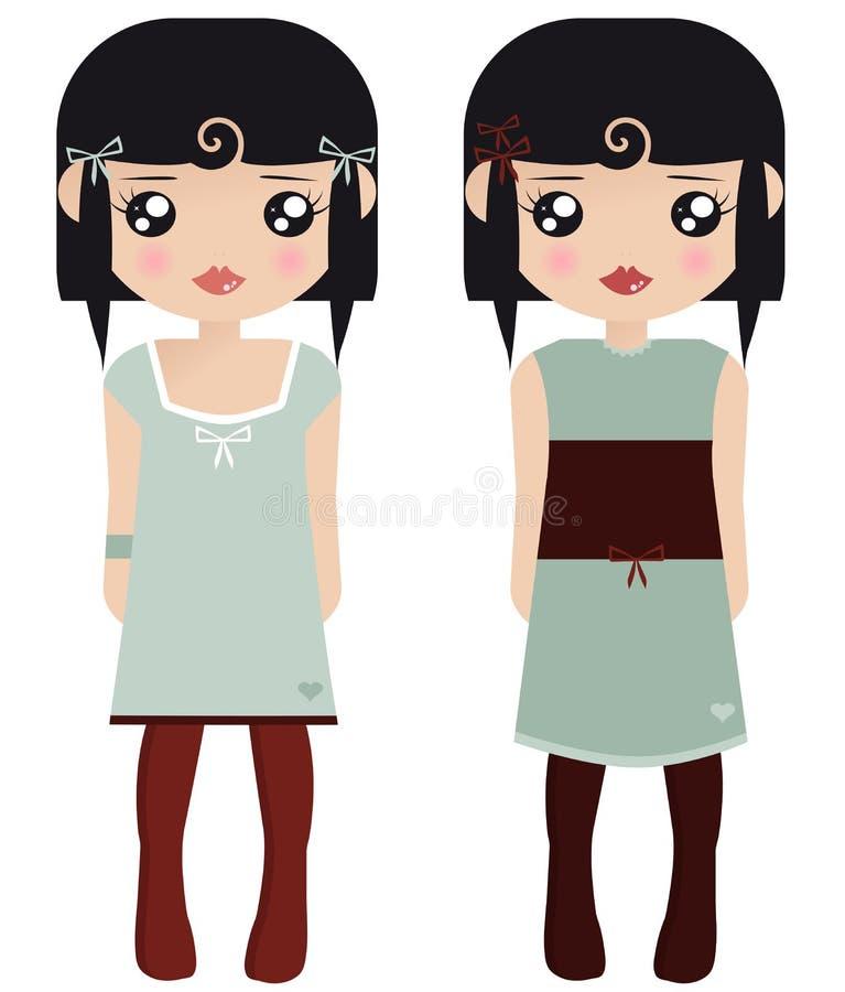 czarny lal żeński z włosami papier dwa ilustracja wektor