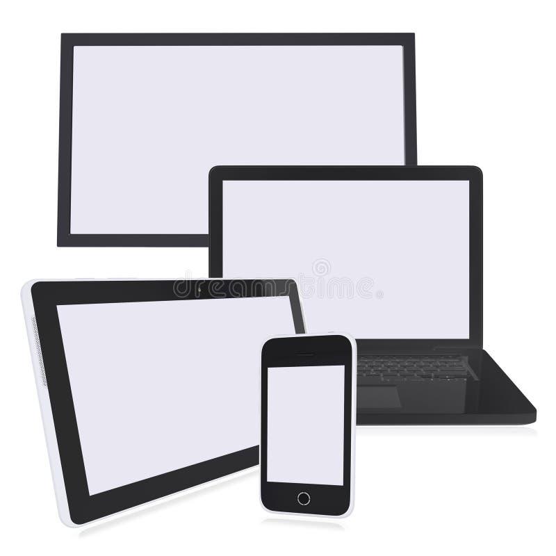Czarny laptop, monitor, pastylka komputer osobisty i mądrze telefon, royalty ilustracja