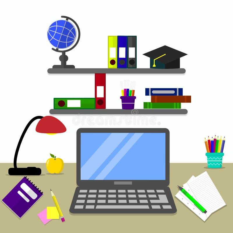 Czarny laptop na biurku, miejscu pracy i swój elementach, ilustracja wektor