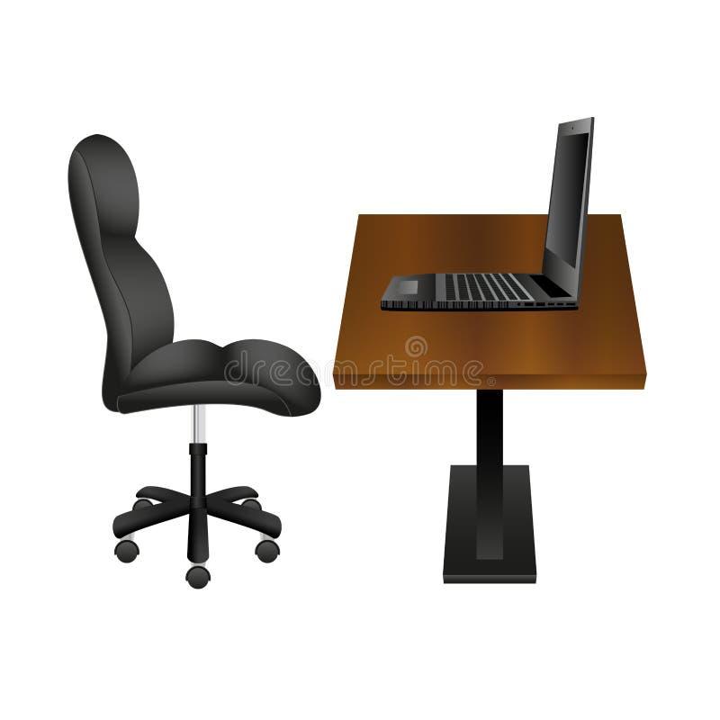 Czarny laptop na Drewnianym biurka miejscu pracy i krzesło również zwrócić corel ilustracji wektora royalty ilustracja