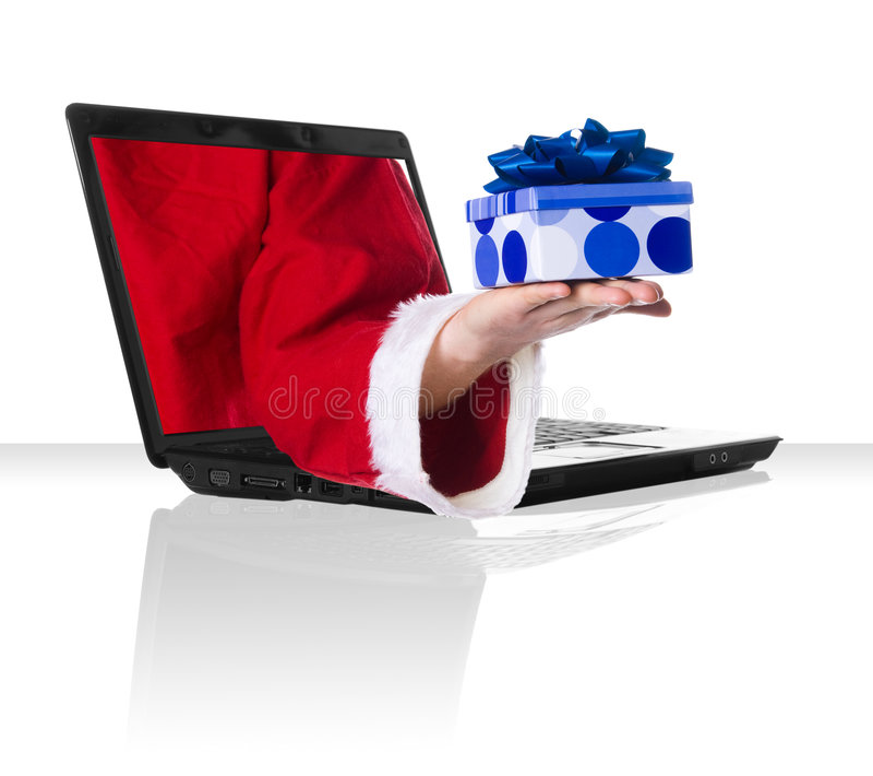 czarny laptopa świąt fotografia royalty free