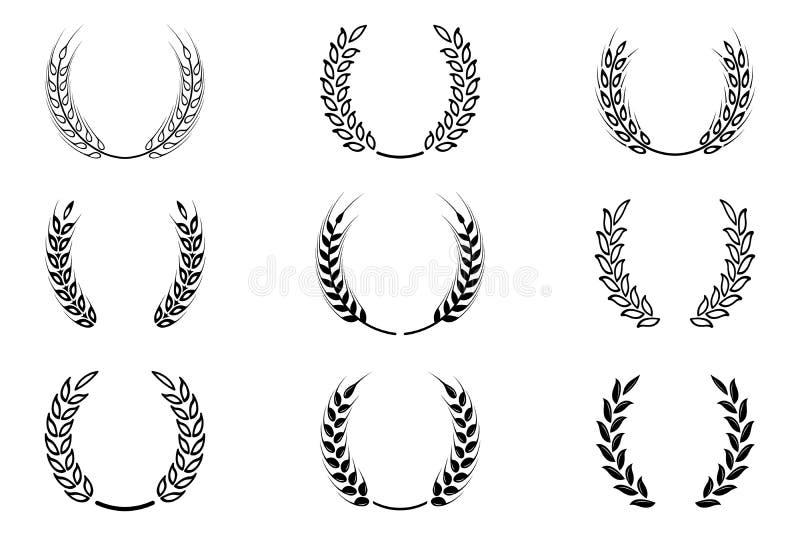 Czarny laurowy wianek - symbol zwycięzca Pszeniczni ucho lub ryżowe ikony ustawiający royalty ilustracja