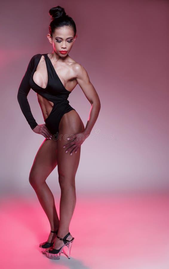 czarny leotard seksowna kobieta zdjęcia royalty free