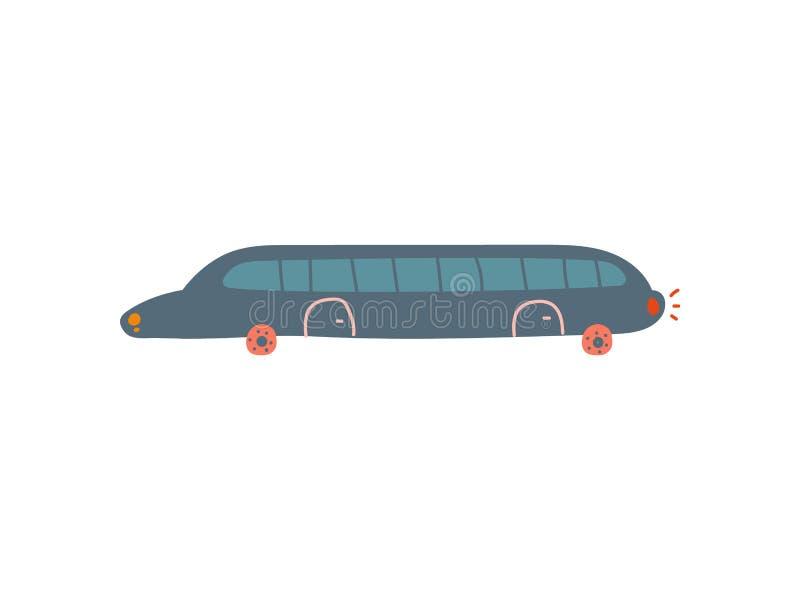 Czarny limuzyna samochód, Boczny widok, kreskówka wektoru ilustracja royalty ilustracja