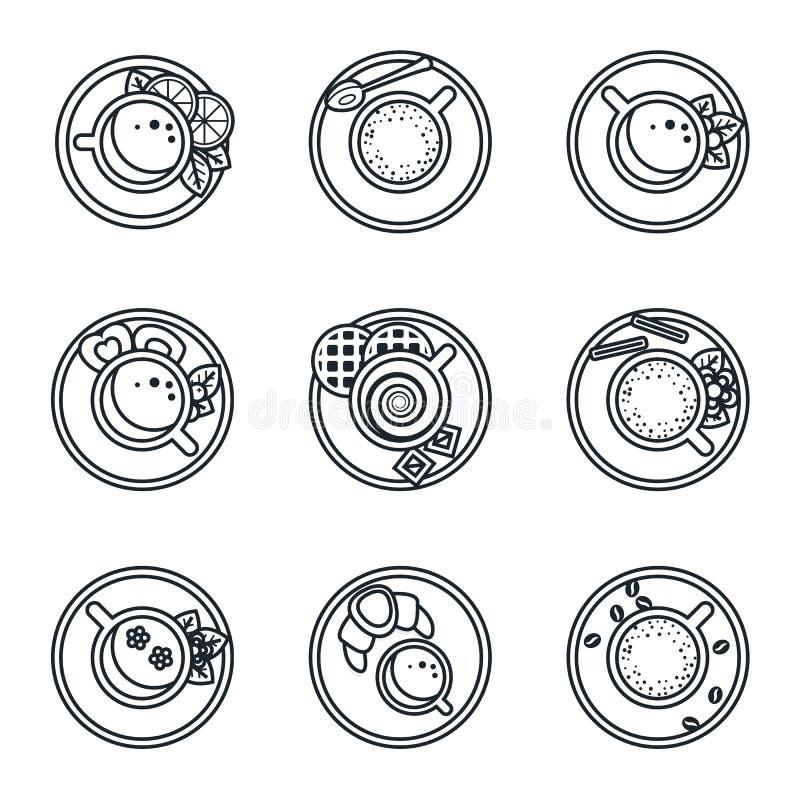 Czarny lineart ikony set Kawa, herbata, pije royalty ilustracja