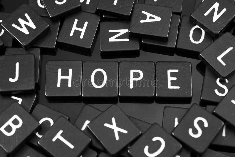 Czarny list tafluje literować x22 & słowo; hope& x22; zdjęcia royalty free