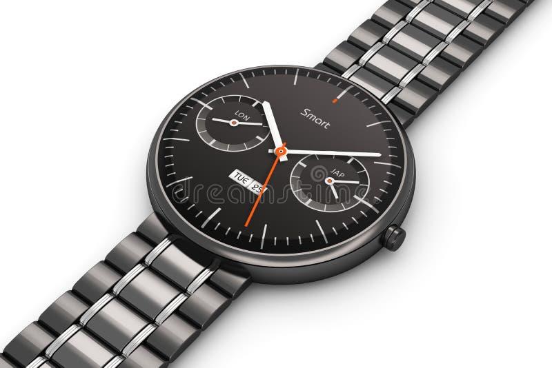 Czarny luksusowy mądrze zegarek ilustracji