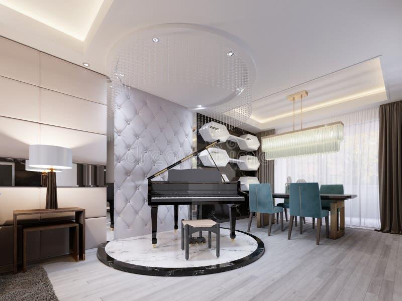 Czarny luksusowy pianino na marmurowym podium w pracownianym mieszkaniu z rzemiennym projektantem, pikował ścianę Nowożytny żywy  ilustracja wektor