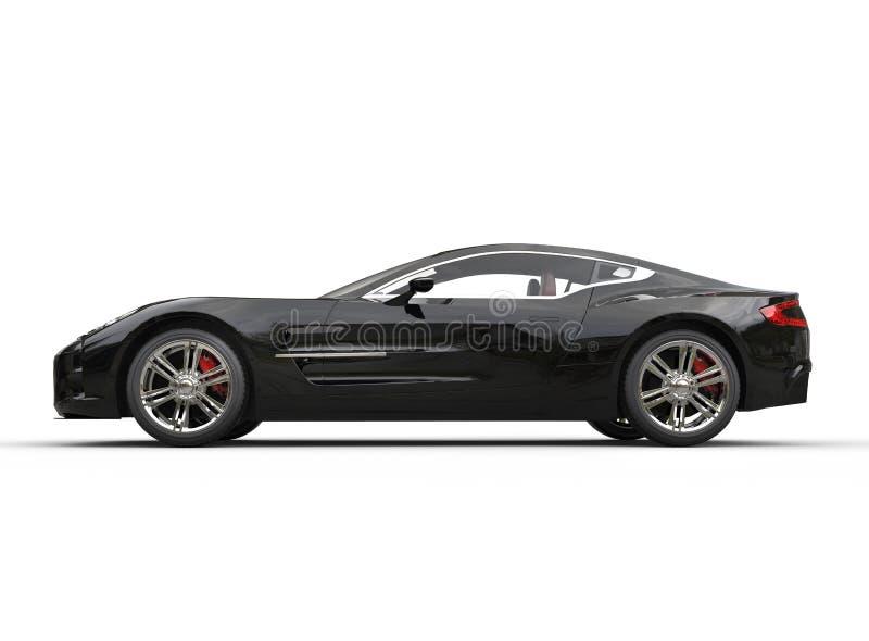 Czarny luksusowy sporta samochód na białym tle - boczny widok obraz royalty free