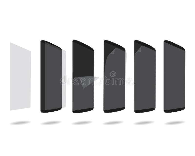Czarny mądrze telefon ochrony film na ekranu ustalonym różnym kącie royalty ilustracja