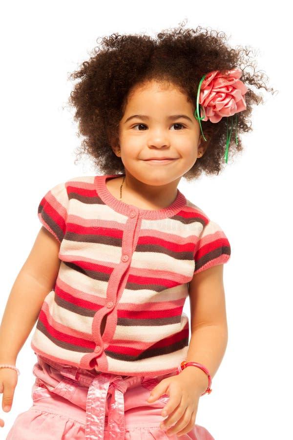 Czarny mała dziewczynka portret zdjęcia royalty free
